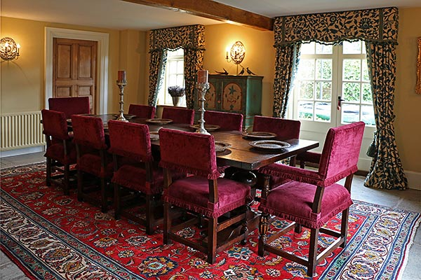17th Century Style Farthingale Chairs and Oak Pedestal Table