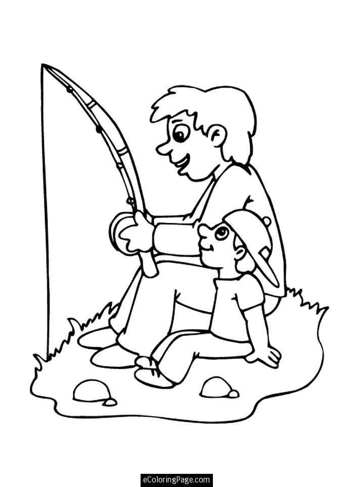 Father's Day clip art: Fishing Father