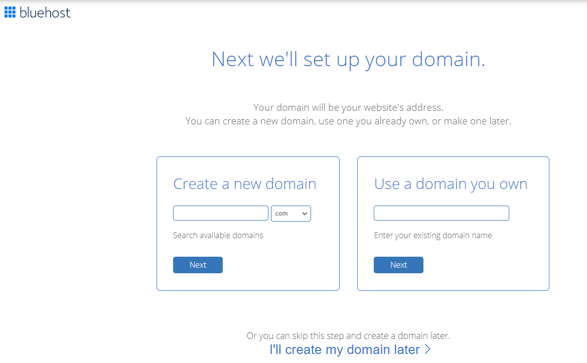 Create your domain in Bluehost