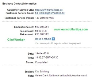 clickworker payment proof