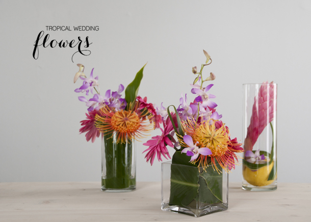 tropical centerpieces wedding - house of earnest
