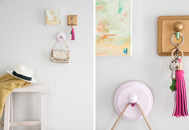 colorful colorblocked coat hooks