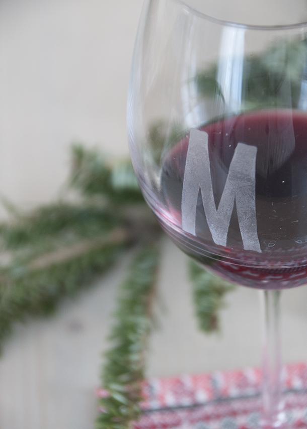 monogrammed wine glasses DIY