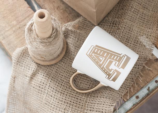 gold monogram mug diy