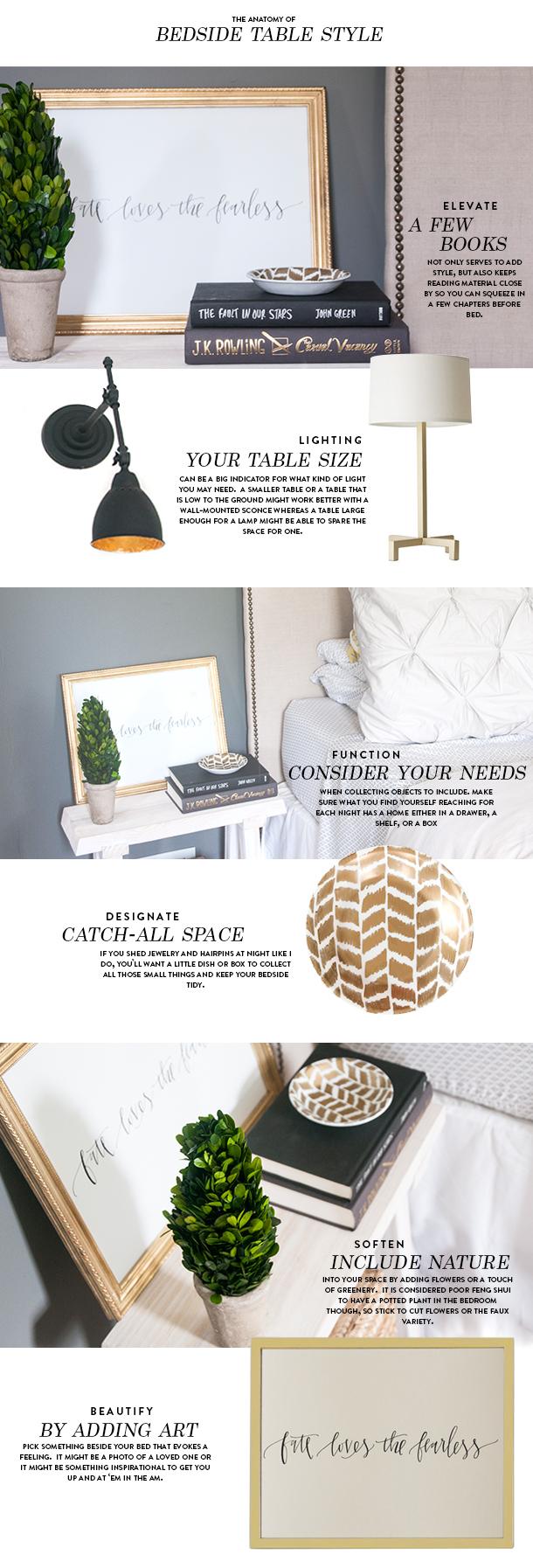 styling product breakdown - bedside table