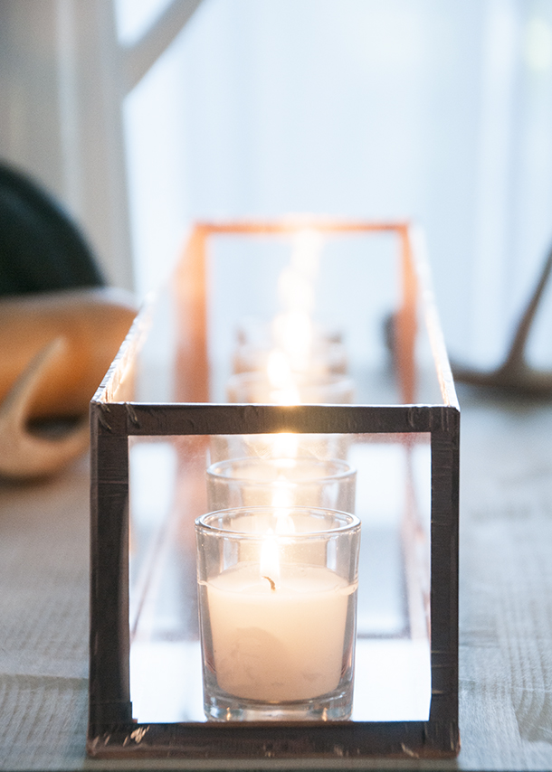 copper and glass centerpiece diy