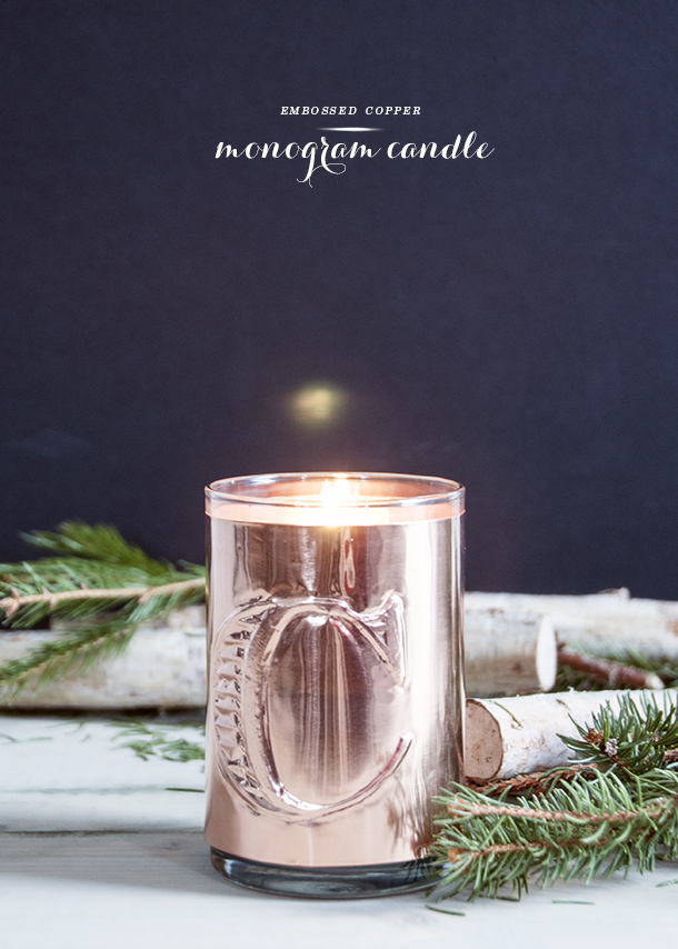embossed monogram candle diy