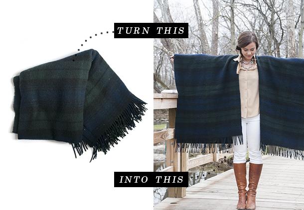 turn a blanket into a kimono wrap