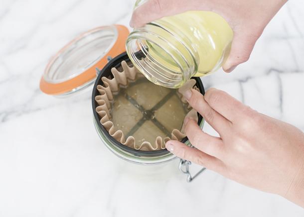 making homemade limoncello