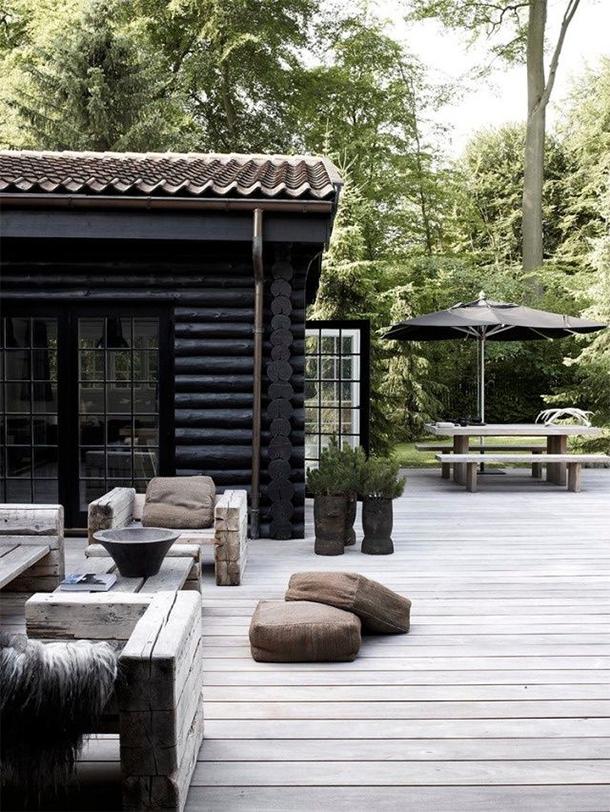 black log cabin
