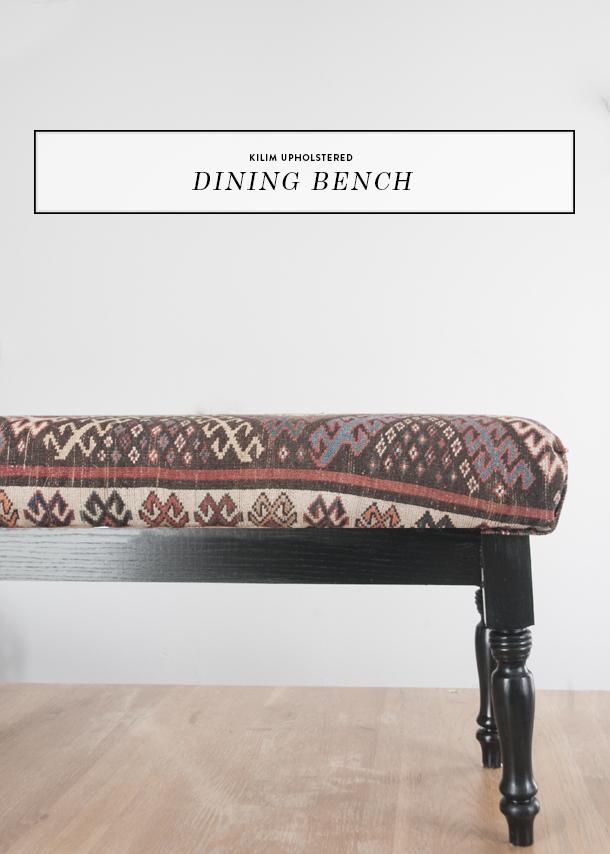 kilim upholstered dining bench