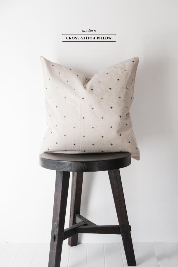 modern cross stitch pillow