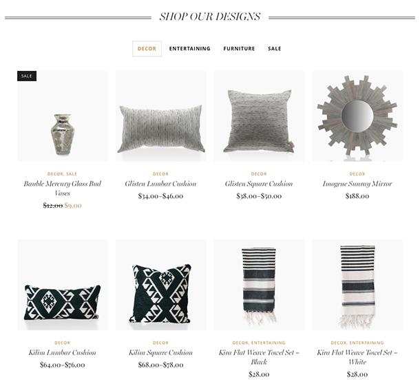 shop homepage