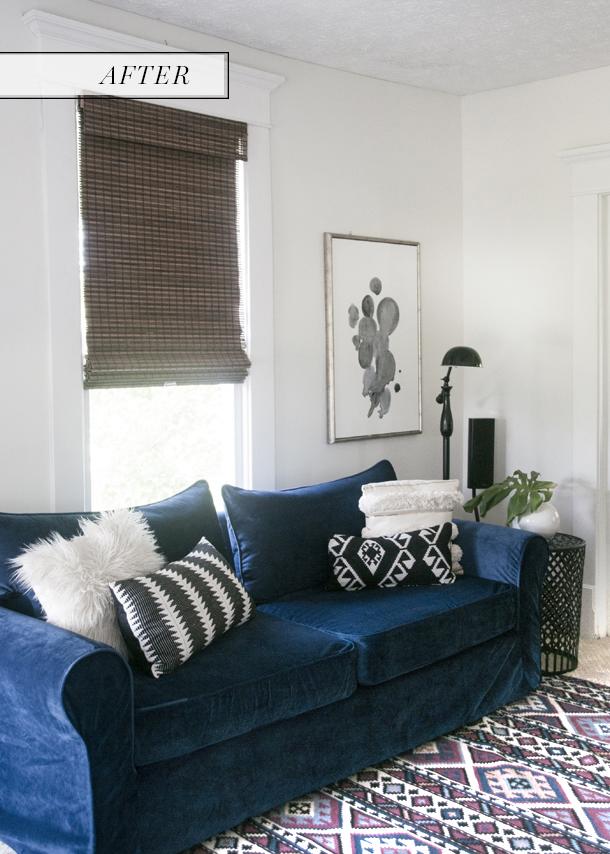 Navy Blue Velvet Sofa After