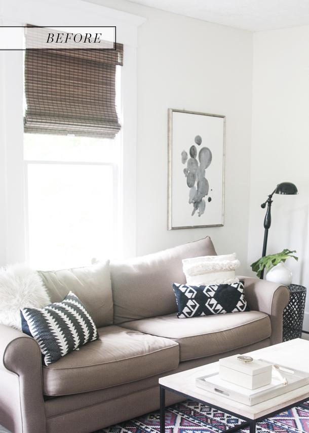 navy blue velvet sofa before