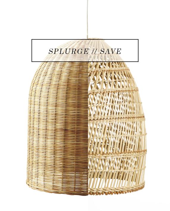 splurge and save - wicker pendant