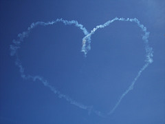 heart written in sky with smoke
