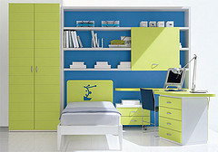 blue and green and white child's bedroom, very organized