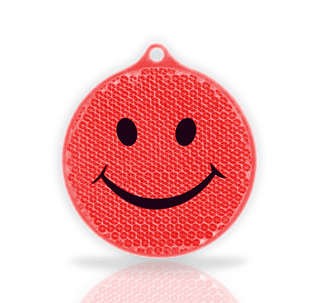red reflective smiley face