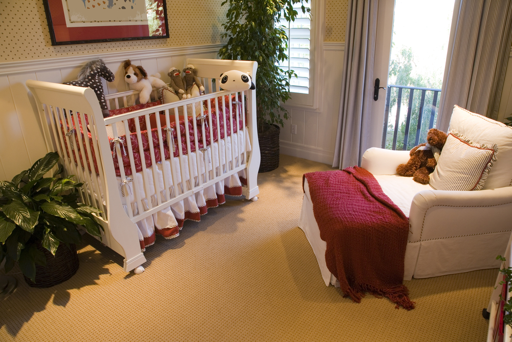 decorated nursery with crib