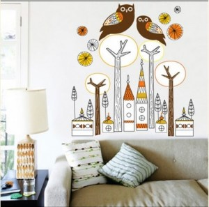 modern decor with owls, city setting