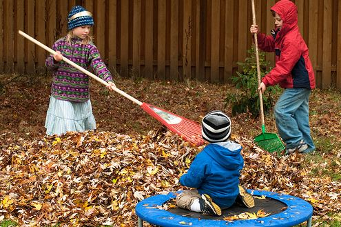 children raking leaves together