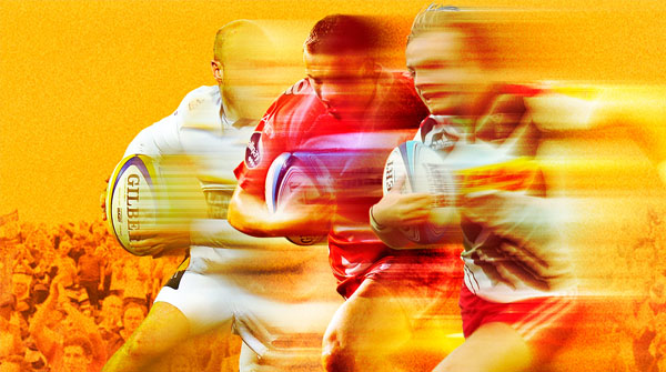 Thumbnail of sevens player running blurred to signify speed. Earnie creative design