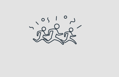 Three drawn animated people running next to each other with circles and lines above them on grey background. Earnie creative design