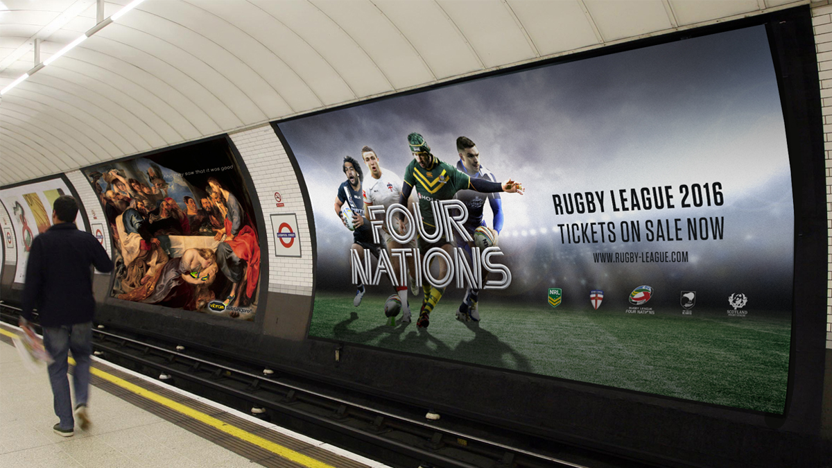 Four nations creative used on the tube. Earnie creative design