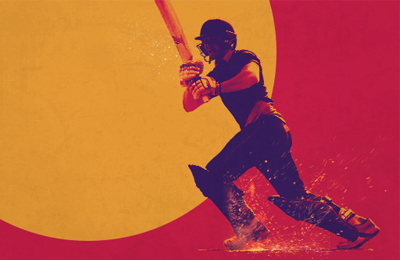ECB central creative shot with cricketer in the centre and orange semi-circle and red outside. Earnie creative design