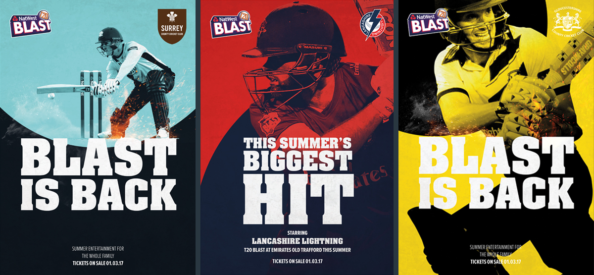 Natwest ECB T20 Blast county variation of creative. Earnie creative design