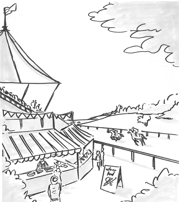 Sketch of the Goodwood raceday. Earnie creative design