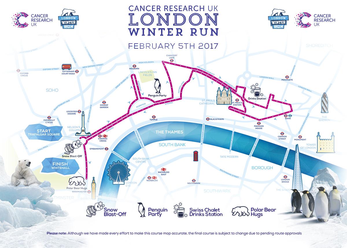 London Winter Run 2017 Map . Earnie creative design