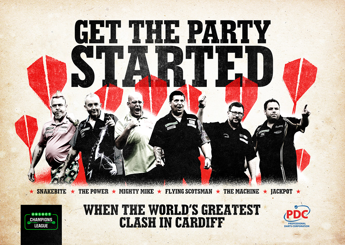 Main creative for the darts champions league in Cardiff. Earnie creative design