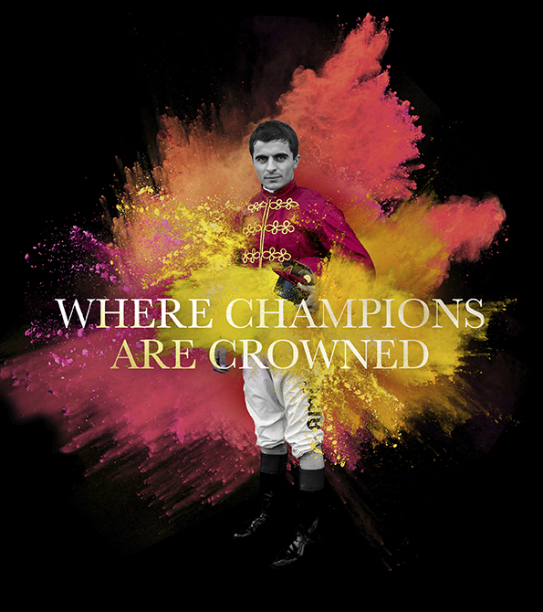 "British Champions Day Paint burst effect with ""Where Champions are Crowned"" tagline over the top. Earnie creative design"
