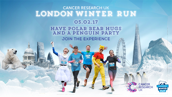 London Winter Run 2017 party ad with people in dress up mixed with runners. Earnie creative design
