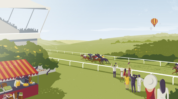 Goodwood illustration of raceday. Earnie creative design