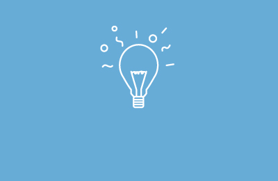 Animated lightbulb drawn in white on light blue background with lines above it. Earnie creative design