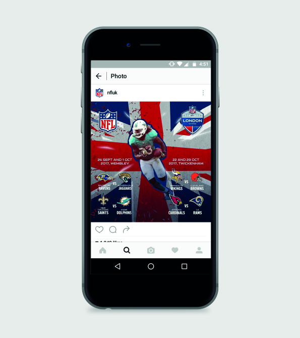 NFL London Games 2017 Instagram Phone with Jay Ajayi on the in front of the campaign creative. Earnie creative design