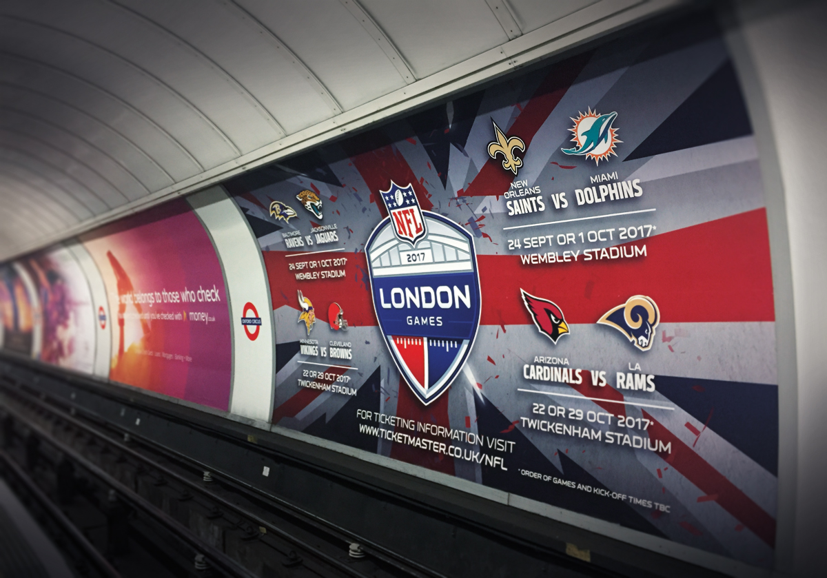 London Underground 48 sheet advert with NFL London Games creative design. Earnie creative design