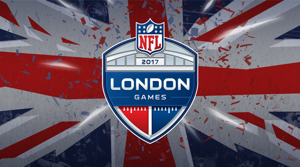 NFL London Games 2017 creative with fragmented British Flag. Earnie creative design