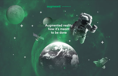 Creative for Augmeant with an astronaut, planet earth, Saturnm the Moon, a spaceshuttle, a satellite floating around in outer space. Earnie creative design