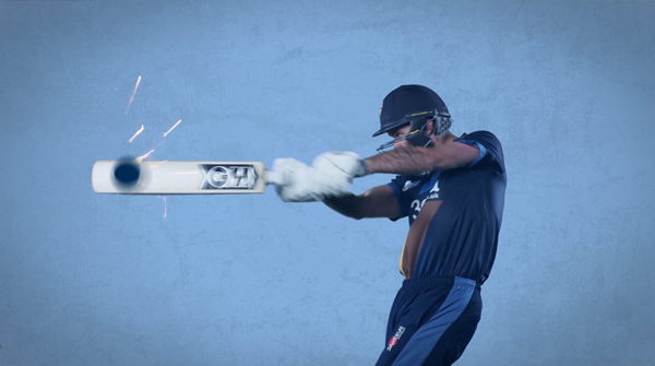A cricketer hitting a computer generated ball on a green screen. Earnie creative design