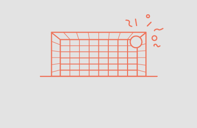 Goal illustration drawn in Orange with a ball in top right corner and shapes above the corner all on grey background. Earnie creative design.