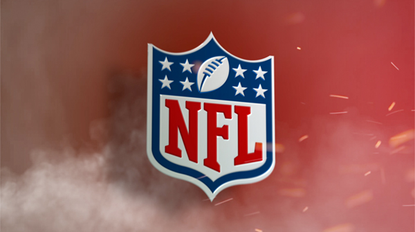 NFL Logo on red background creative with smoke and sparks flying. Earnie creative design.