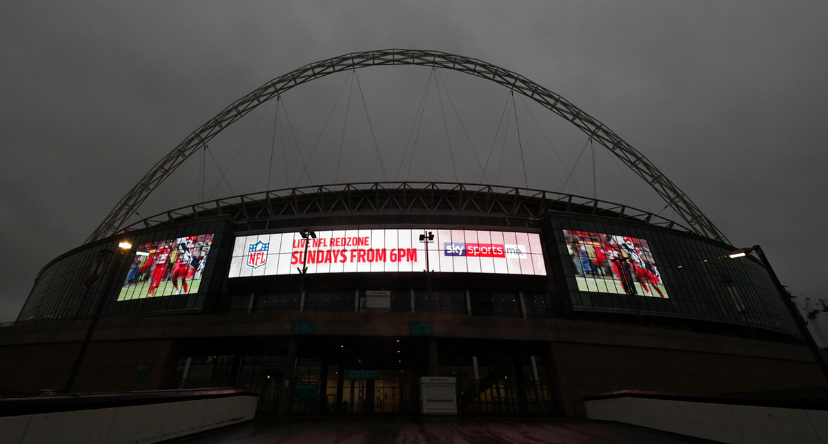 Wembley Stadium LES Screen with Live NFL Redzone Sundays from 6pm on screen. Earnie creative design.