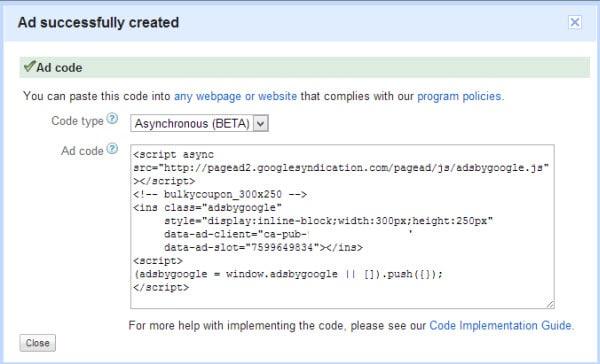 Google AdSense Asynchronous Tag