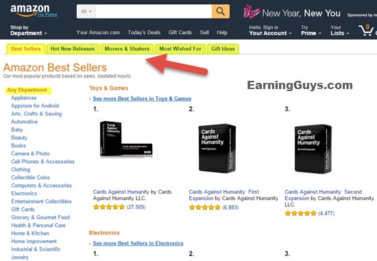 Amazon Bestsellers to find Affiliate Products