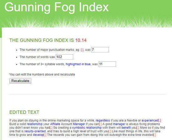 Gunning Fog Index Readability Score Checker