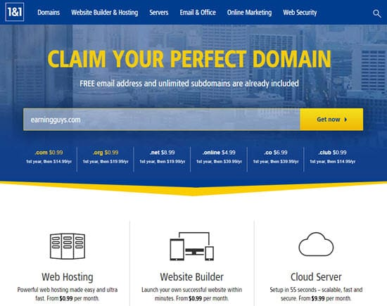 1and1 Cheap Domain Names